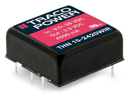 TRACOPOWER THN 15WIR 15W Isolated DC-DC Converter PCB Mount, Voltage in 36 → 110 V dc, Voltage out 5V dc Railway