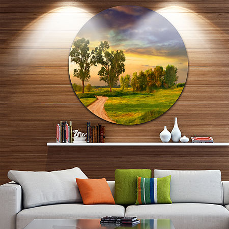 Design Art Road to Bliss Landscape Circle Metal Wall Art, One Size , Green