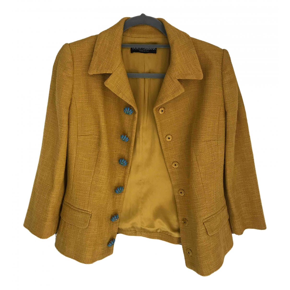 Dolce & Gabbana - Manteau   pour femme en coton - jaune