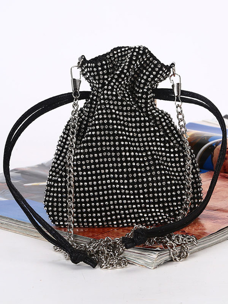 Milanoo Evening Clutch Bags Rhinestone Beaded Party Handbags Women Bucket Bags Chain Strap Special Occasion Accessories