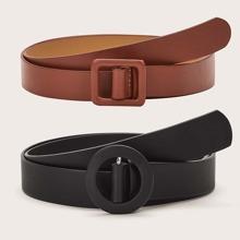 2pcs Solid PU Buckle Belt