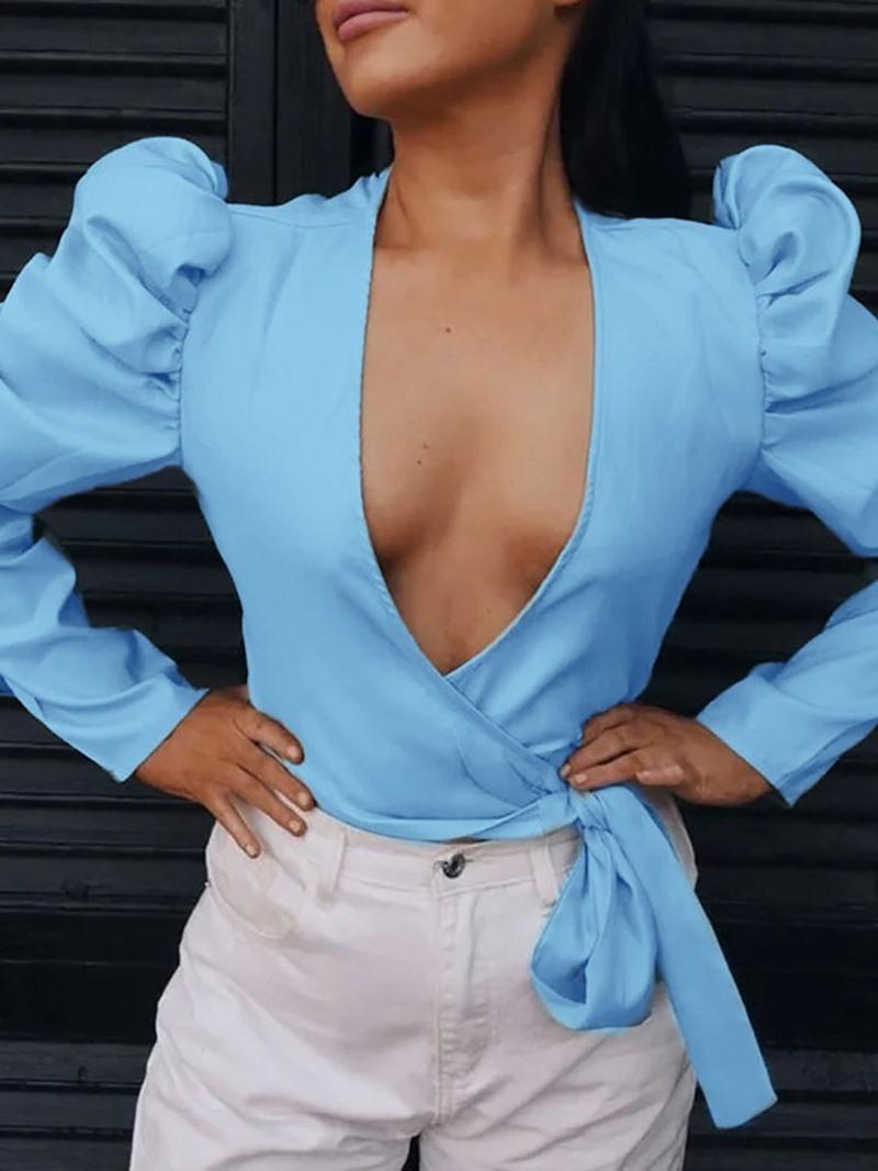 Ericdress Bowknot V-Neck Lace-Up Short Fashion Blouse