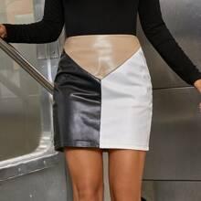 Zipper Back Colorblock PU Skirt