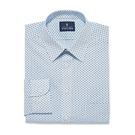 Stafford Mens Wrinkle Free Stain Resistant Stretch Super Dress Shirt, 17.5 34-35, Blue