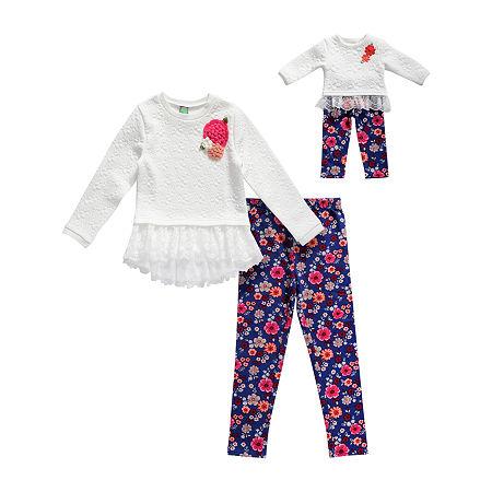 Dollie And Me Little & Big Girls Legging Set, 8 , Multiple Colors