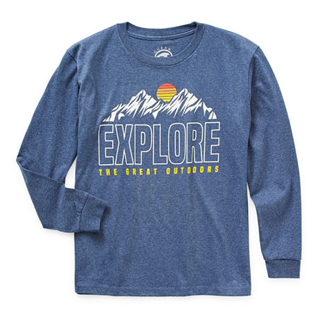 Ocean Current Little & Big Boys Crew Neck Long Sleeve Graphic T-Shirt, X-small , Blue