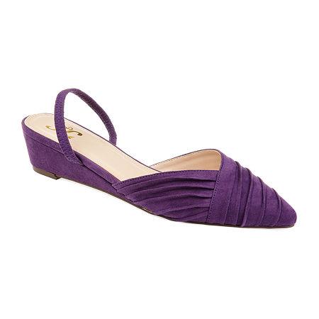 Journee Collection Womens Kato Pumps Slip-on Pointed Toe Wedge Heel, 8 Medium, Purple