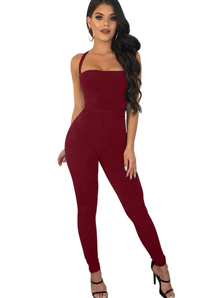 Milanoo Women Sexy Jumpsuit Lace Up Sleeveless Convertible Skinny Clubwear