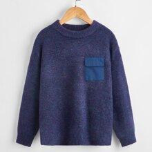 Pullover mit Taschen Detail und Drop Shoulder