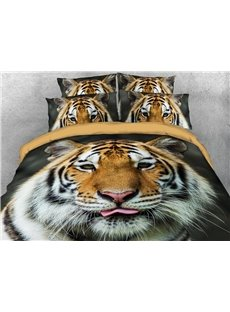 Tiger Face Soft Warm Duvet Cover Set 4-Piece 3D Animal Bedding Set