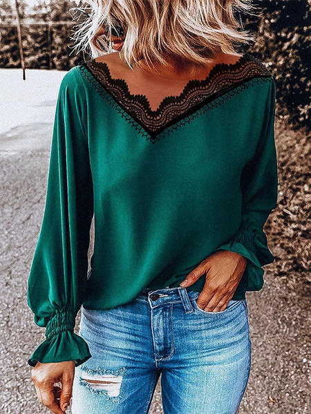 Yoins Green Lace V-neck Long Sleeves Blouse