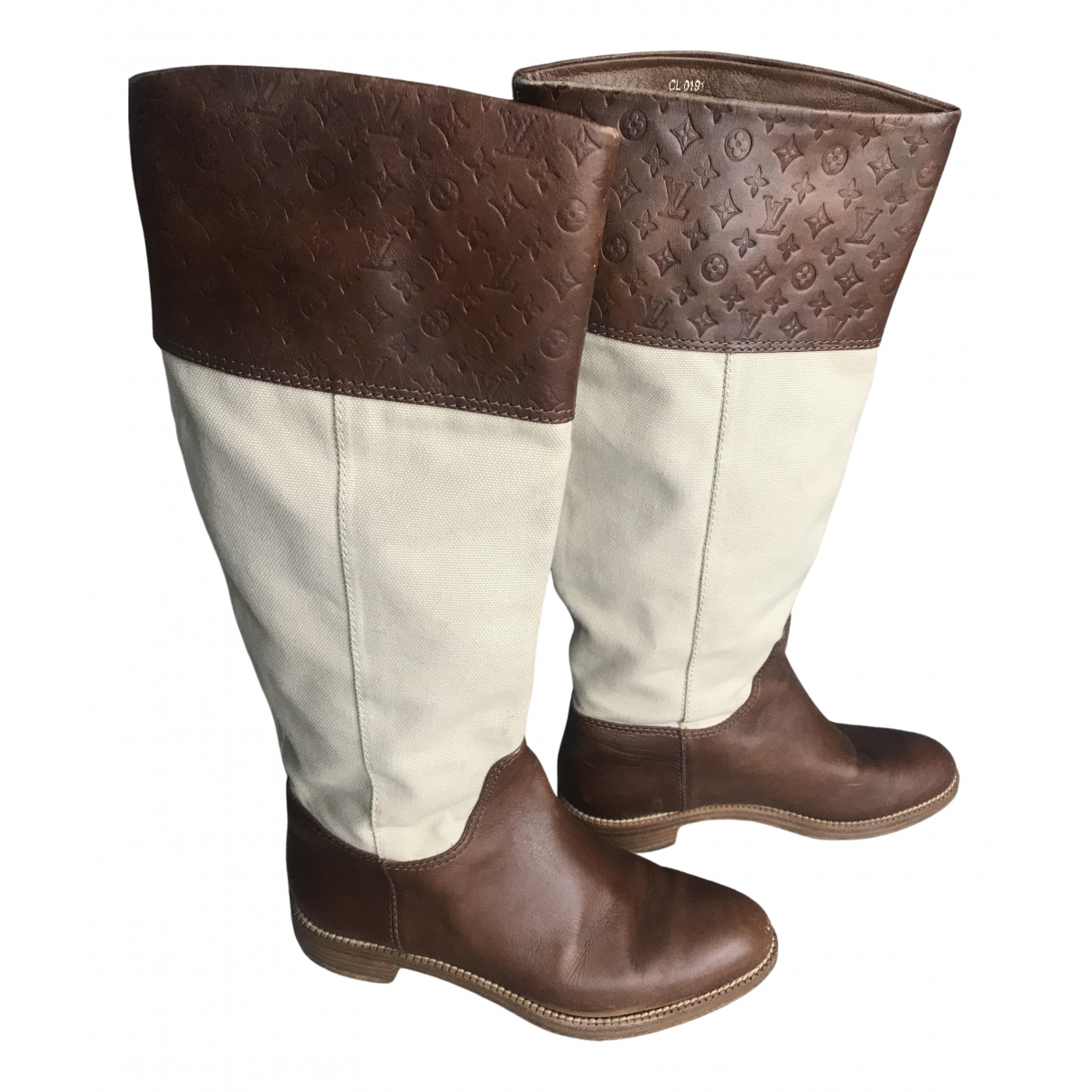 Louis Vuitton - Bottes   pour femme en cuir - marron