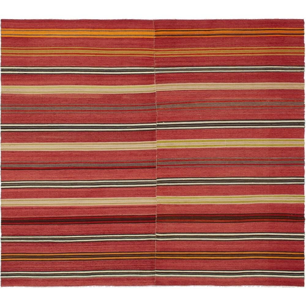 ECARPETGALLERY Flat-weave Bohemian Dark Red Wool Kilim - 5'3 x 8'0 (Dark Red - 5'3 x 8'0)