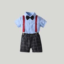 Hemd mit Schleife, Schleife und Shorts mit Karo Muster