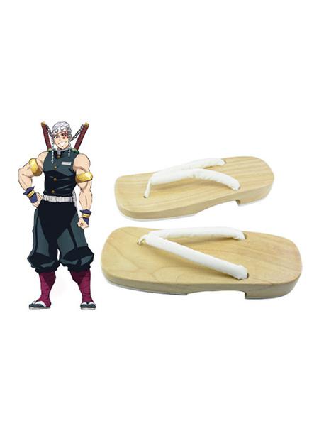 Milanoo Demon Slayer: Kimetsu No Yaiba Uzui Tengen Clogs And Socks Anime Cosplay Accessories