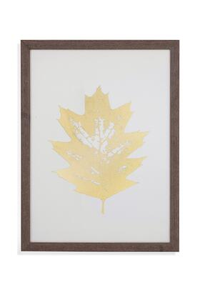 Boho Collection 9901-122AEC 25W x 33H Gold Foil Leaf I Framed Art with Wood Frame Glass Face Material in