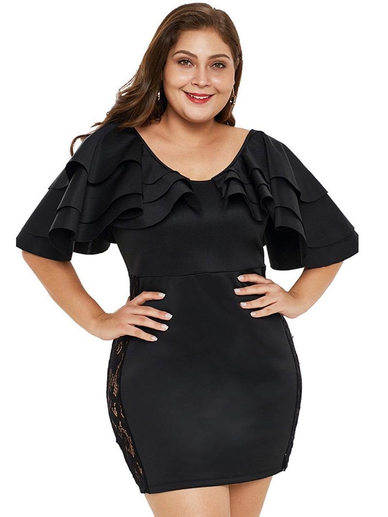 Ericdress Above Knee Half Sleeve Falbala Bodycon Plus Size Dress