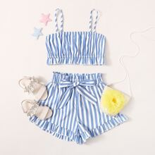 Girls Striped Ruffle Hem Crop Cami Top & Paperbag Waist Shorts Set