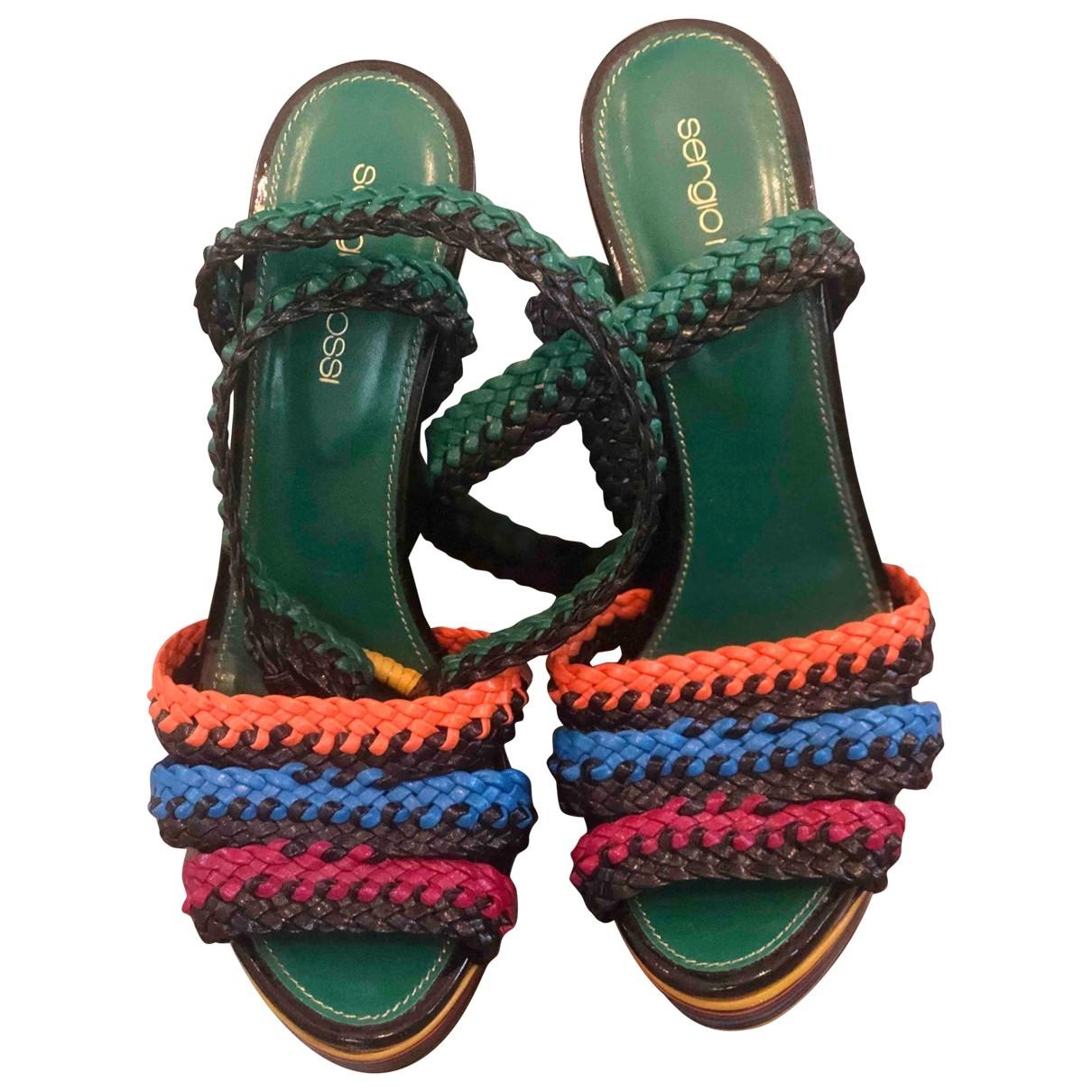 Sergio Rossi - Sandales   pour femme en cuir - multicolore