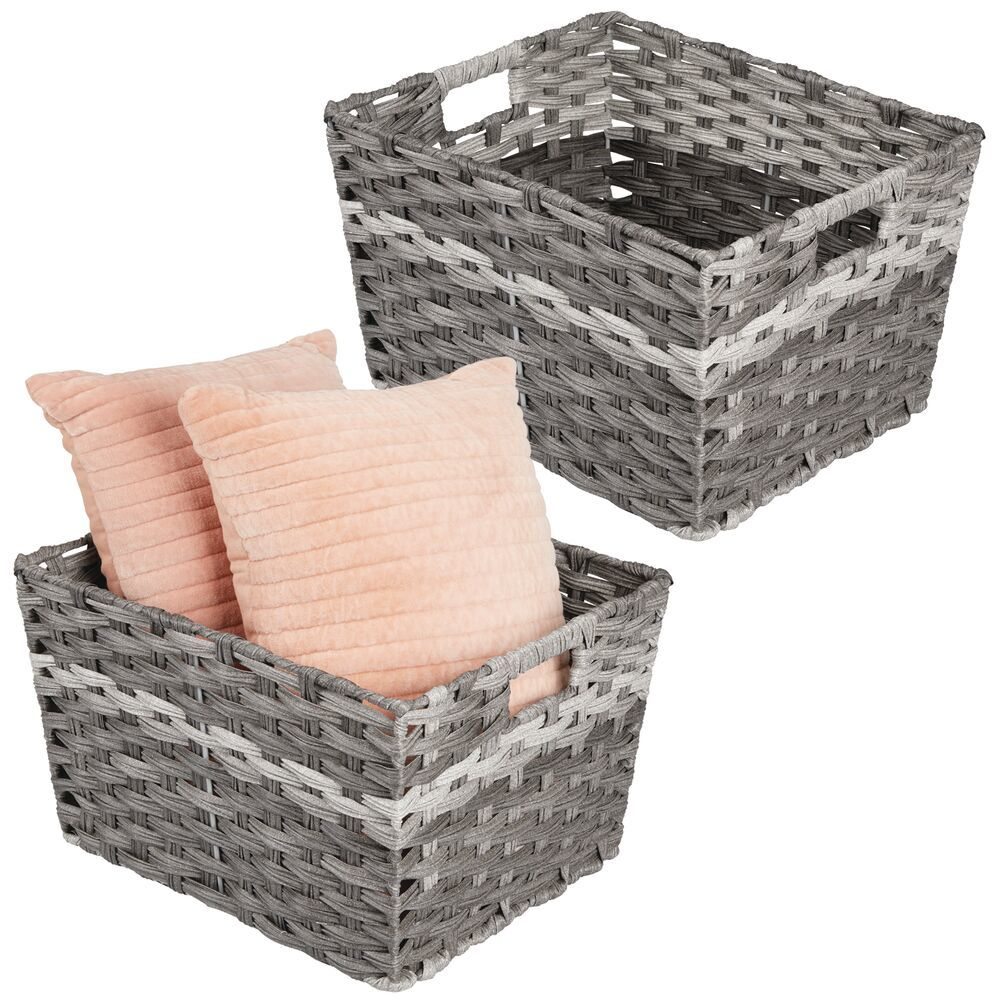 mDesign Wide Rectangular Woven Home Storage Basket Bin - Pack of in Gray