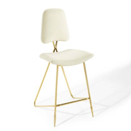 Ponder Collection EEI-3880-IVO Bar Height Stool with High Density Foam Padding  Vintage Glamour Style  Gold Stainless Steel Frame and Stain-Resistant