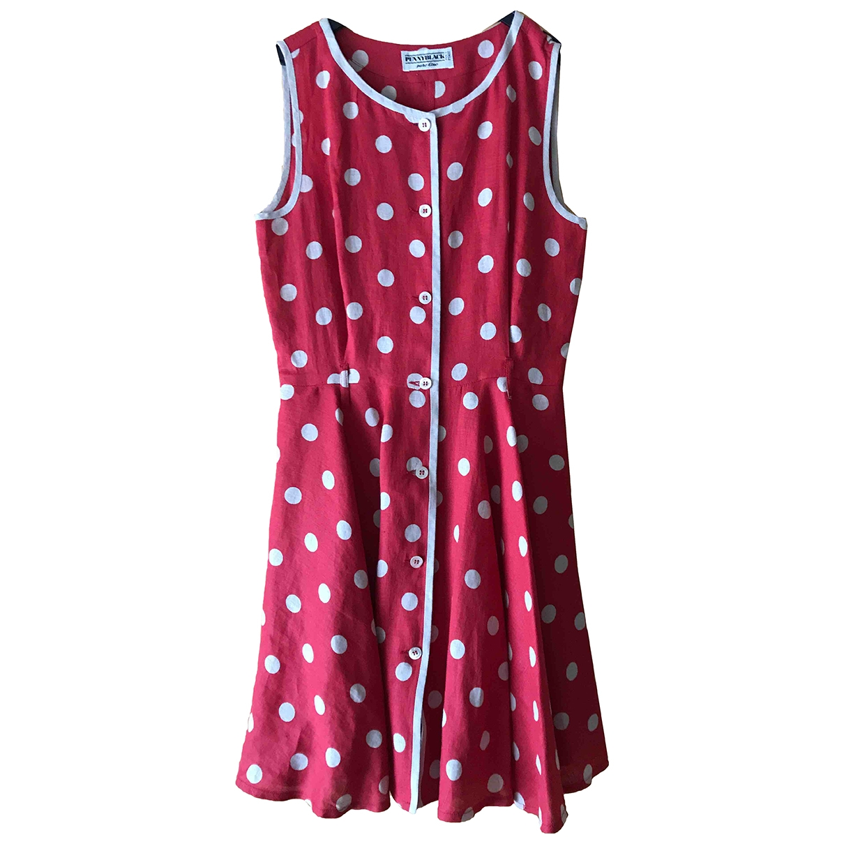 - Robe   pour femme en lin - rouge