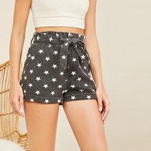 Paper Bag Waist Tie Star Print Denim Shorts