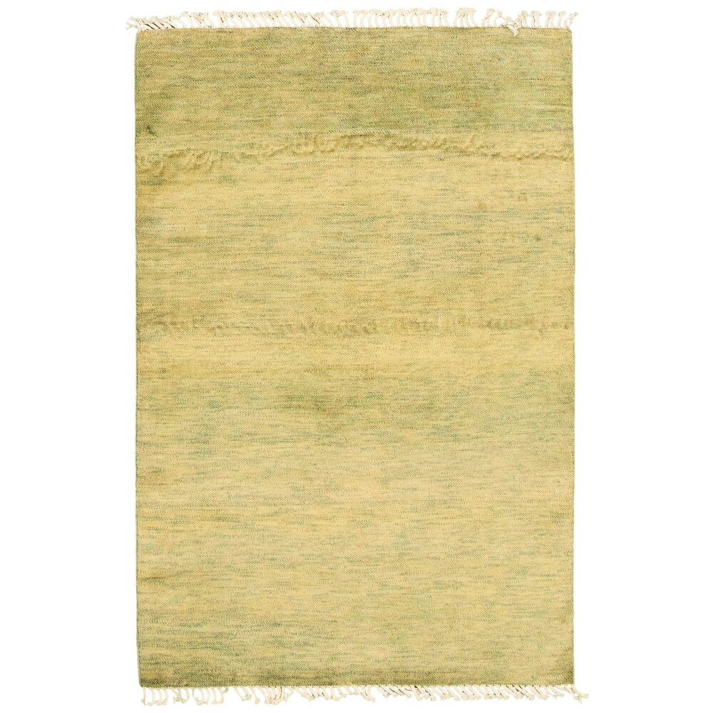 ECARPETGALLERY  Hand-knotted Pak Finest Gabbeh Olive Wool Rug - 40 x 511 (Olive - 40 x 511)