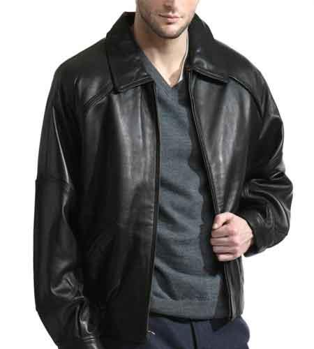 Men's Retro Throwback Semi-Naked Lambskin Bomber Zip  Black Jacket