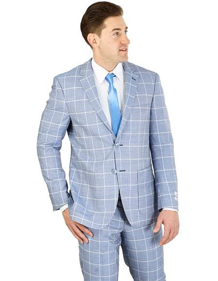 Men's Lorenzo Bruno Blue Modern Fit 2 Button Square Pattern Suit