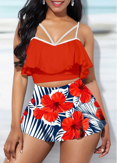 Women High Waisted Two Piece Swimsuit Red Spaghetti Strap Ruffle Overlay Floral Printed Bathing Suit Top And Pantskirt By Rosewe - M