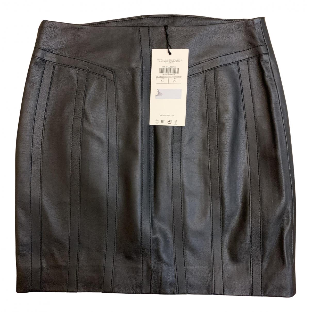 Uterque N Black Leather skirt for Women 34 FR