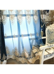 High Quality Embroidery Modern Decoration Grommet Top Sheer Curtain