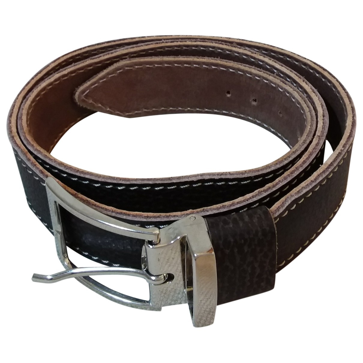 Non Signé / Unsigned \N Brown Leather belt for Men 95 cm