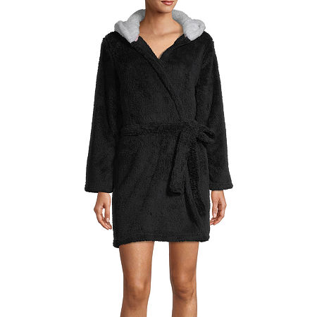 Rene Rofe Womens Fleece Long Sleeve Knee Length Robe, Large , Black