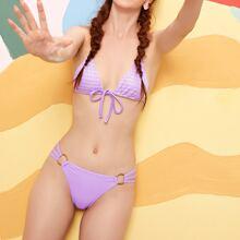 Dreieckiger Bikini Badeanzug mit Knoten vorn und Kreis Bindung