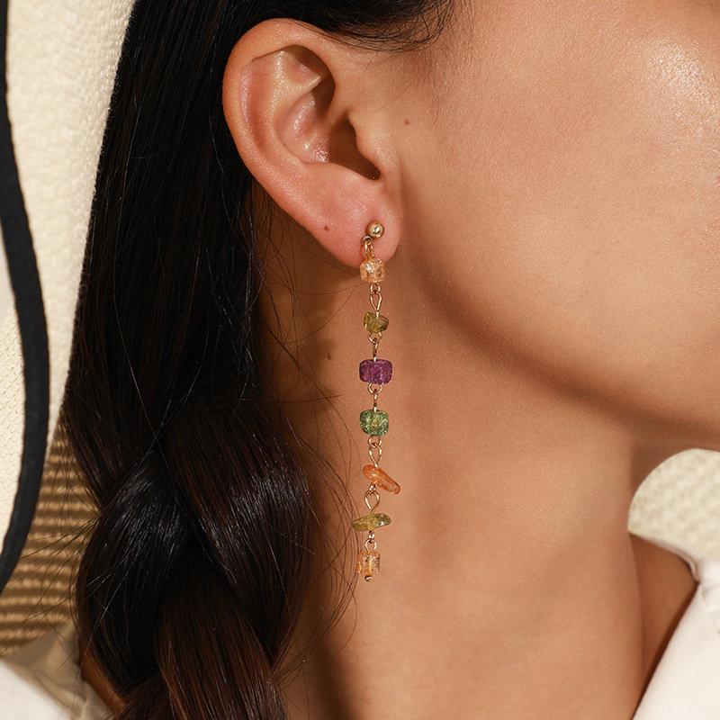 Bohemian Handmade Irregular Gravel Pendant Earrings Temperament Natural Stone Long Ear Drop
