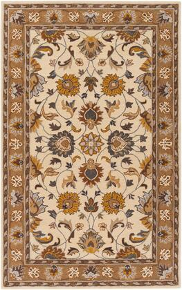 Caesar CAE-1215 9' x 12' Rectangle Traditional Rug in Mustard  Light Grey  Dark Brown  Charcoal  Camel
