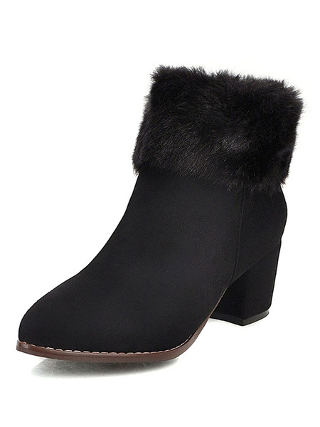 Milanoo Women Ankle Boots Black Microsuede Pointed Toe Chunky Heel 2.2 Booties With Faux Fur