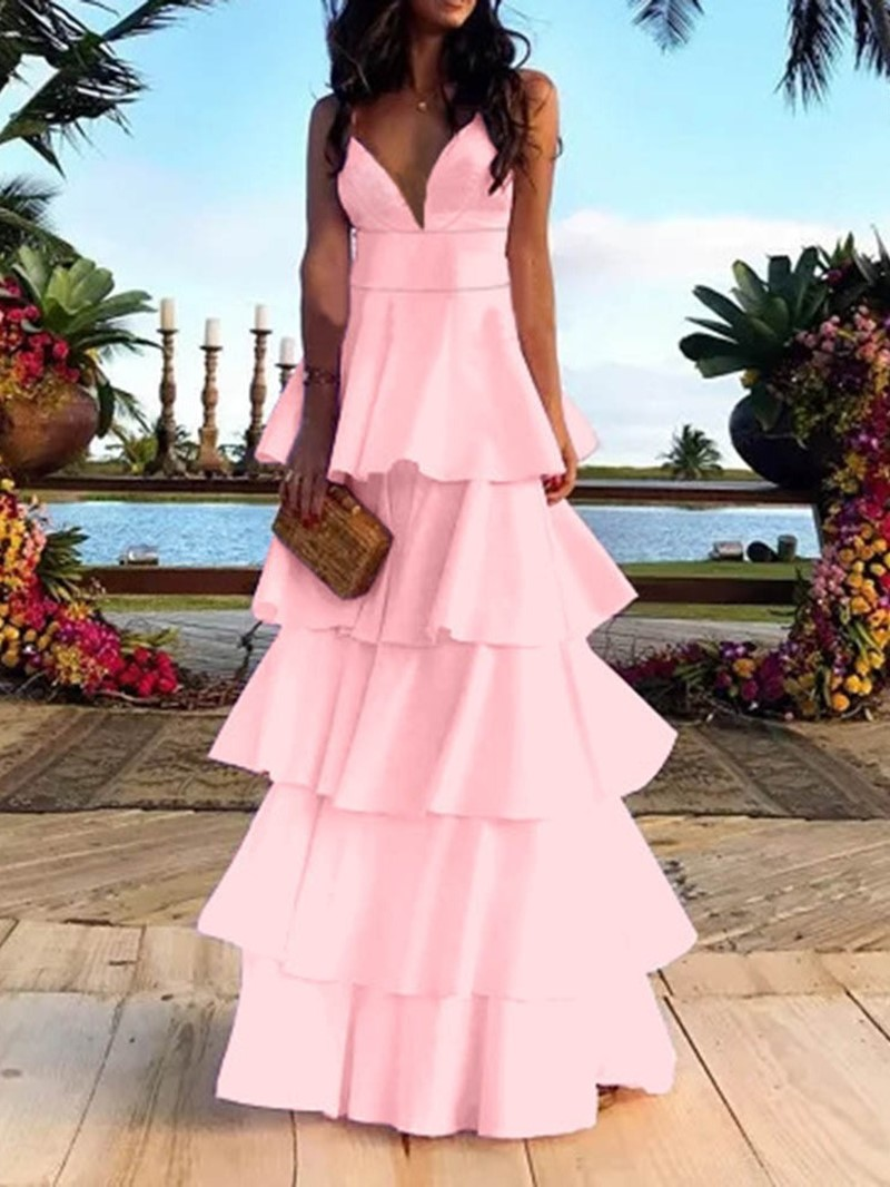 Ericdress V-Neck Backless Sleeveless Plain Spaghetti Strap Party Dress