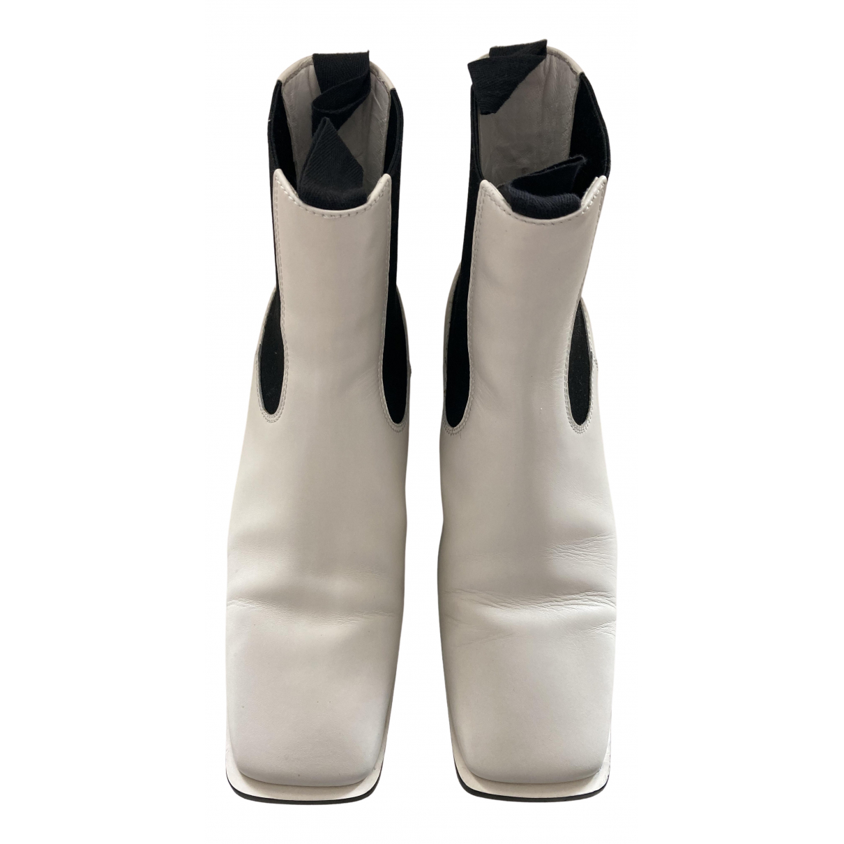 Celine \N White Leather Ankle boots for Women 40 EU