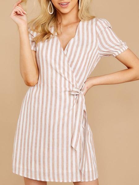 Milanoo Stripe Summer Dress V Neck Short Sleeve Cotton Wrap Dress