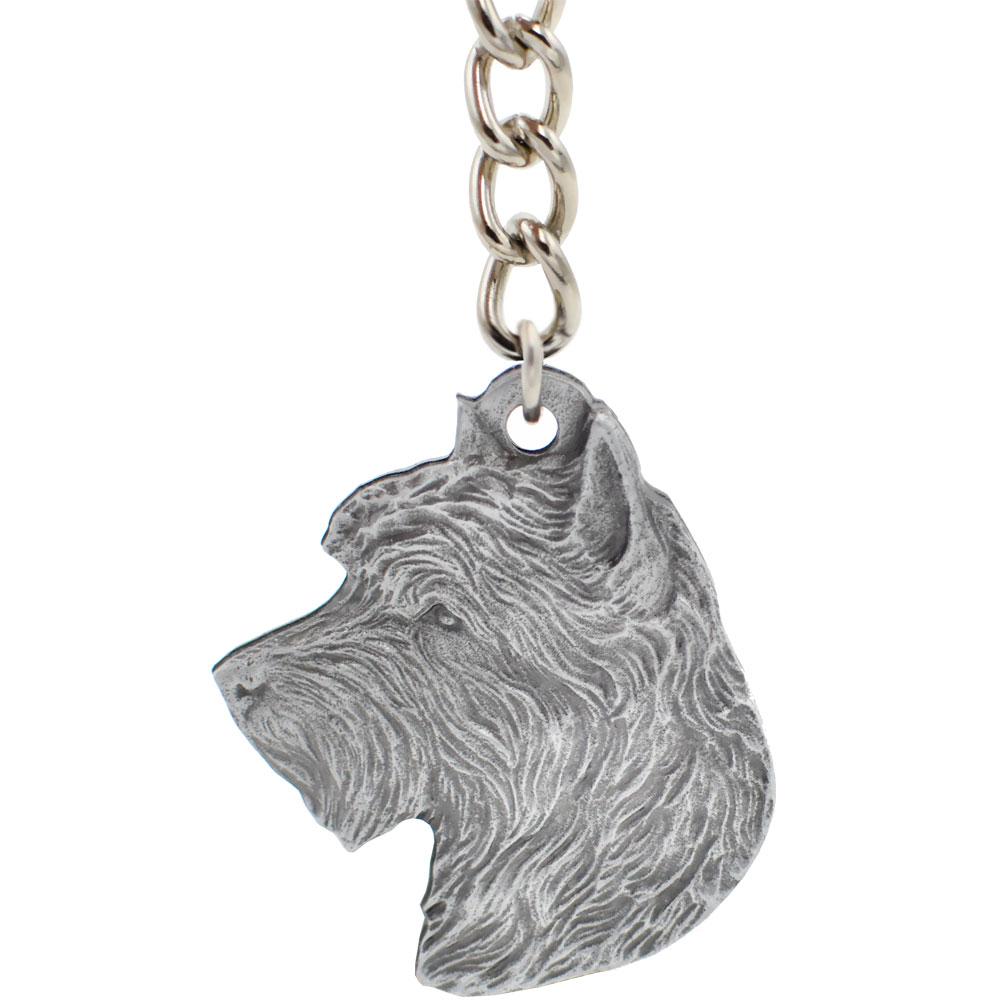 Dog Breed Keychain USA Pewter - Australian Terrier (2.5