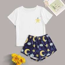Cartoon Moon & Star Graphic PJ Set