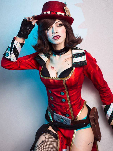 Milanoo Borderlands Mad Moxxi Halloween Cosplay Costume Red Suit Halloween