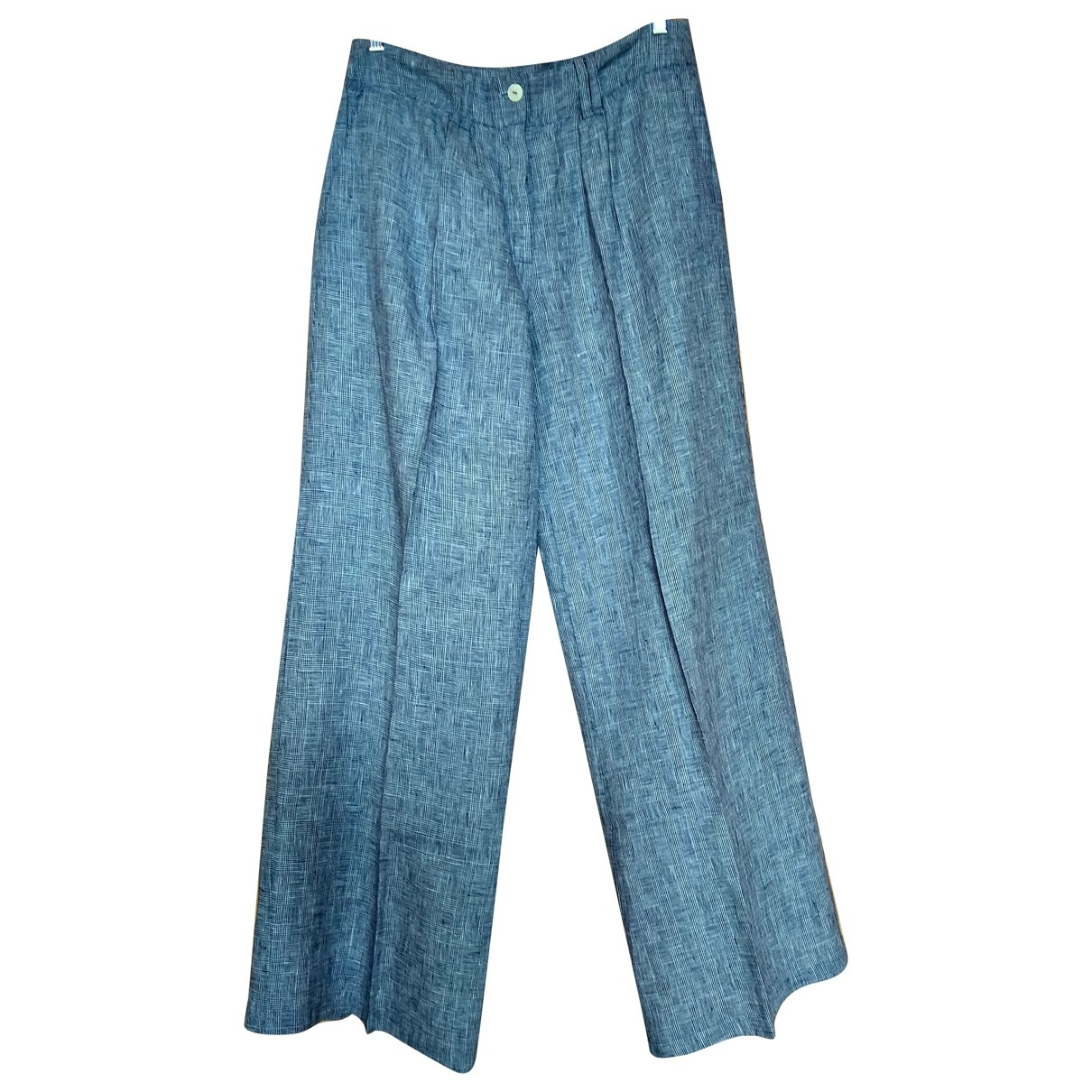 Non Signé / Unsigned Oversize Navy Linen Trousers for Women 4 0-5