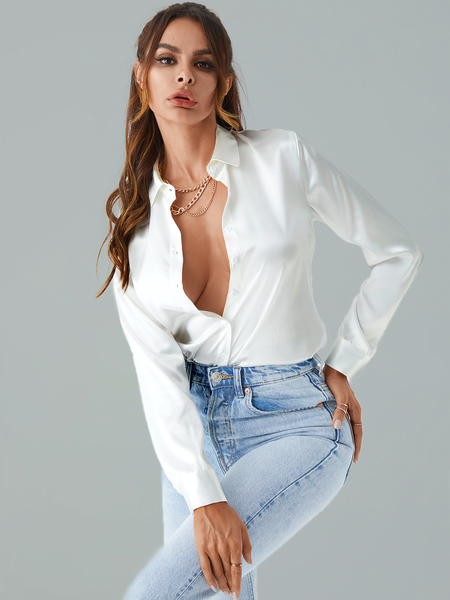 YOINS Button Design Classic Collar Long Sleeves Satin Blouse