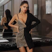 Lucra vestido con lentejuela en contraste girante delantero de cuello asimetrico