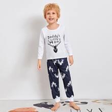 Schlafanzug Set mit Elch und Buchstaben Grafik