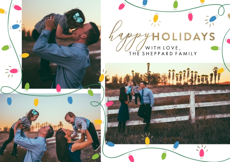 Holiday Photo Cards 5x7 Cards, Standard Cardstock 85lb, Card & Stationery -Holiday Festive Lights by Tumbalina